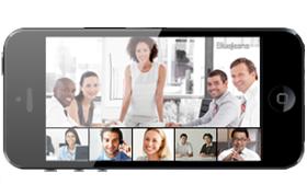 ウェブ会議システムBlueJeans画面レイアウト スマートフォン