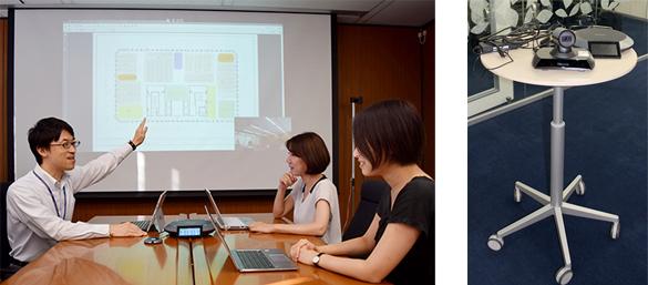 打ち合わせの様子。東京本社では、Icon 600は会議室に常設して利用